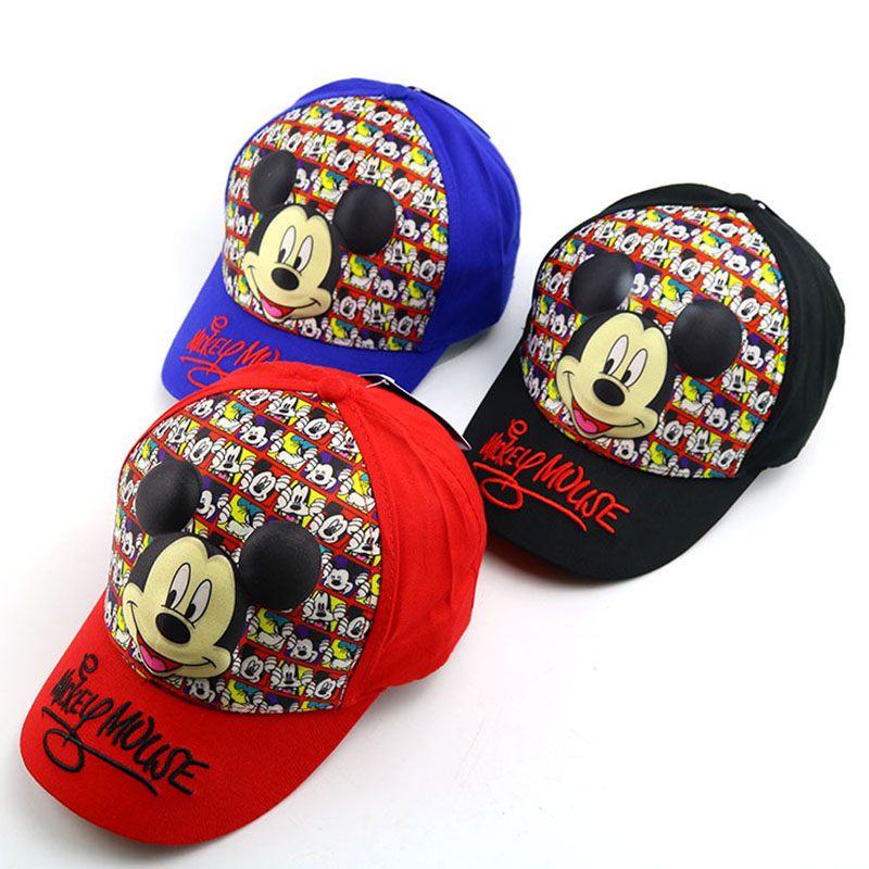 Color Printing Cartoon Mouse Mickey Minnie Children Baseball Hat Baby Outdoor Travel Flat Along Hip Hop Hat Shade Baseball Caps