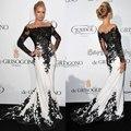 Vestidos дизайн длинный рукав доступное чёрно-белый кружево русалка знаменитости платья свободного покроя платье