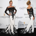 Vestidos 2015 New Design Long Sleeve Affordable Black And White Lace Mermaid Celebrity Dresses Casual Dress