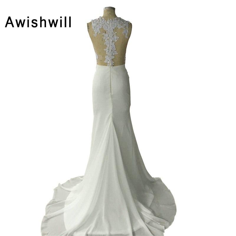 Vestido de Formatura Longo em Vestidos de Baile Sexy Sheer Back Appliques Chiffon Illusion White Evening Dresses Long Party 2018