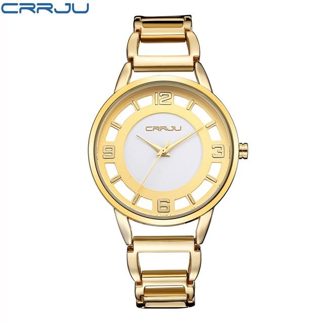 CRRJU  Luxury Brand Fashion Gold Woman Bracelet Watch Women Full Steel Quartz-watch Clock Ladies Dress Watches relogio feminino