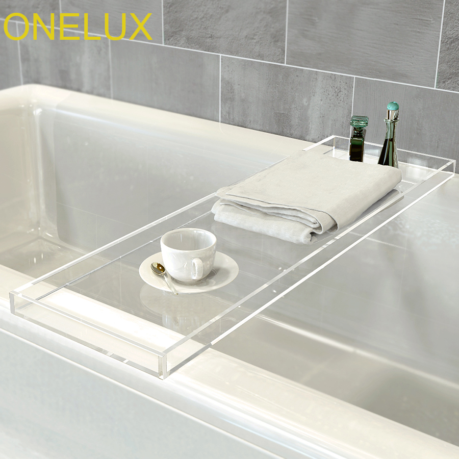Durable Clear Acrylic Towel Tray ,Lucite Bathtub Caddy -2 Size Options