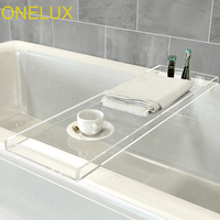 Durable Clear Acrylic Towel Tray ,Lucite Bathtub Caddy 2 Size Options