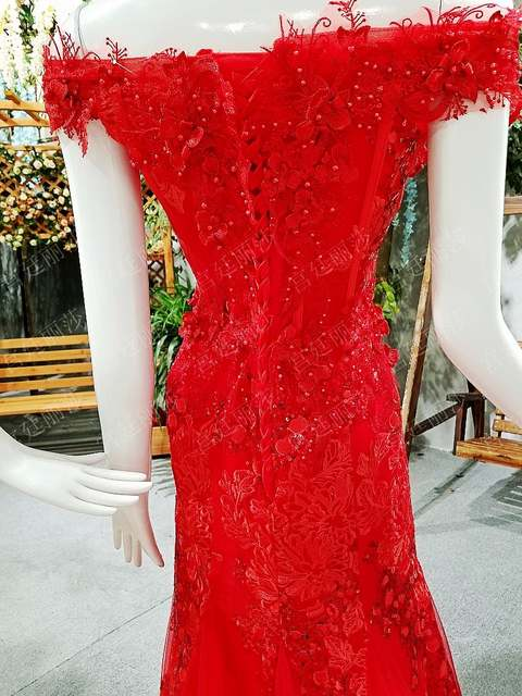 b24b888826 Red Pink Champagge Custom Made Real Photo Mermaid Flowers Appliques ...