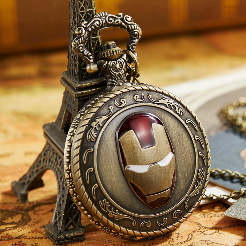 Vintage The Iron Man Pocket Watch Marvel Movie Comics Quartz Fob Watches Necklace Chain For Women And Men Boys