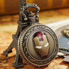 Vintage The Iron Man Pocket Watch Marvel Movie Comics Quartz