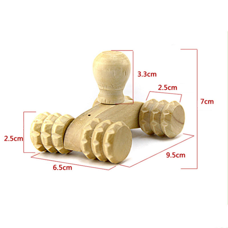 Solid Wood Full-body Four Wheels Wooden Car Roller Relaxing Hand Massage Tool Reflexology Face Hand Foot Back Body Therapy 4