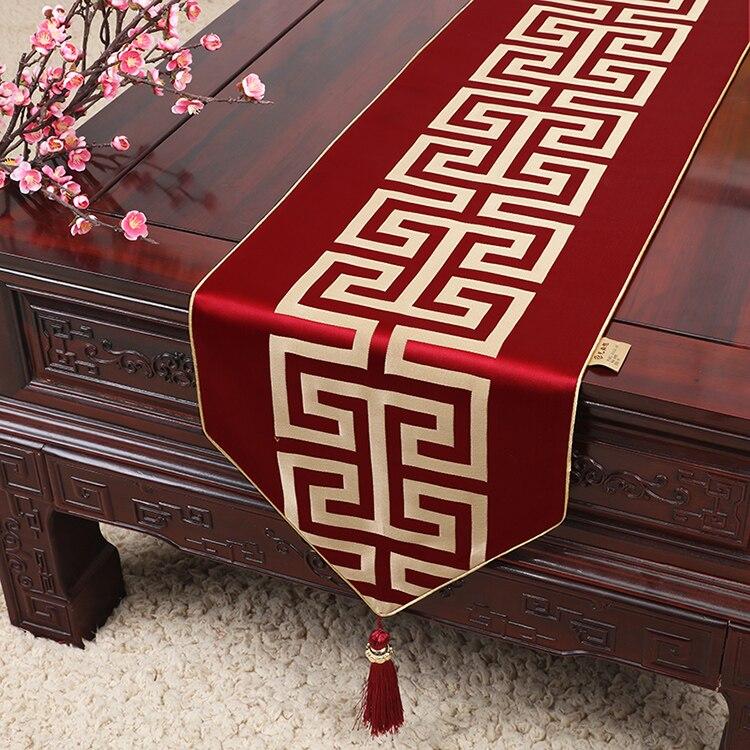 Luxury Jacquard Geometric Chinese Silk Table Runner Christmas Wedding Mat Decoration Dinner Party Coffee Cloth