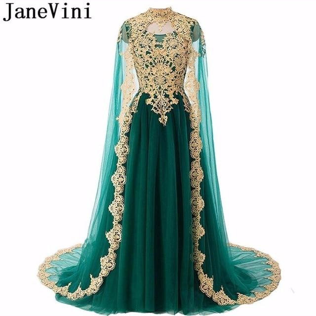 JaneVini Saudi Arabia Dark Green Long Formal Prom Dress With Cape Gold Lace Arabic Sequin Burgundy Bridesmaid Dresses High Neck