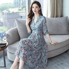 Летнее женское шифоновое сексуальное платье миди с v-образным вырезом и цветочным рисунком, большой размер, макси, новинка, богемное платье, элегантное платье с длинным рукавом, Vestidos