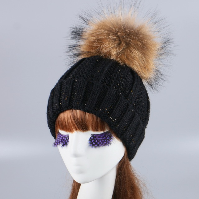 women brand winter hat knitted hats cap thick thermal Double layer style striped girl beanie real mink fox ball gorro skully