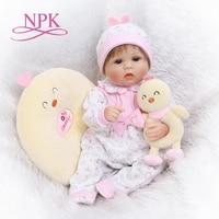 NPK soft silicone reborn baby doll toys lifelike lovely newborn babies girl dolls fashion birthday gifts for children