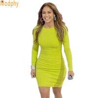 2017 recién llegado vestido del vendaje barato en línea de descuento celebrity amarillo completo de manga larga buen estiramiento vestido de fiesta dropship HL1457
