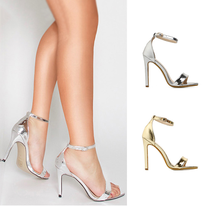 Women Shoes <font><b>12cm</b></font> <font><b>Heels</b></font> Silver <font><b>Sexy</b></font> <font><b>High</b></font> <font><b>Heels</b></font> Shoes Women Buckle Staple Sandals Fashion Wedding Shoes Women Pumps stiletto image