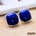 1.2cm  jewelry 925 silver stud earrings retro genuine natural stone female Fashion Jewelry Beatiful Natural Lapis Lazuli