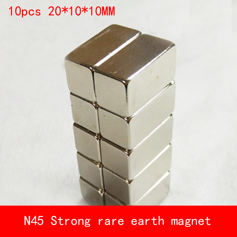10PCS 20 10 10mm square N45 N52 Strong magnetic force NdFeB rare earth Neodymium magnet permanent 20X10X10MM in Magnetic Materials from Home Improvement
