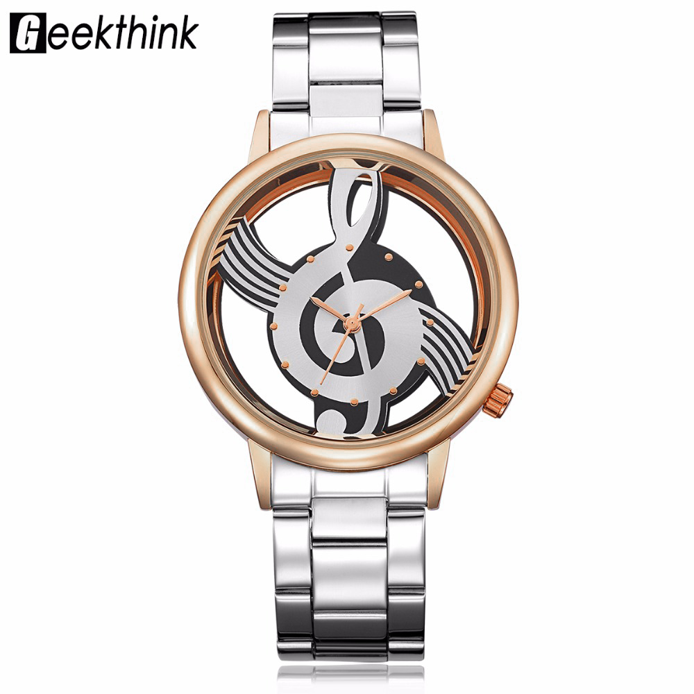GEEKTHINK Hollow Quartz Watch Women Luxury Brand Gold Ladies Casual Dress Stainless steel Wristwatch Clock Female Girls Gift replacement toner cartridge for epson m1400 mx14