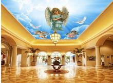 Custom 3d photo wallpaper Angel fairy blue cloud ceiling TV backdrop mural wallpaper Home Decoration
