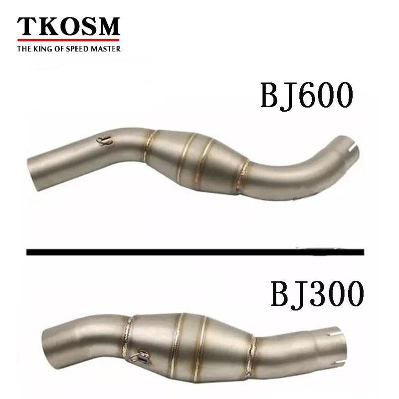 TKOSM 51mm Moto pour Benelli BJ300 BJ600 tuyau de liaison d'échappement piège de plomberie tuyau d'échappement Moto tuyau intermédiaire