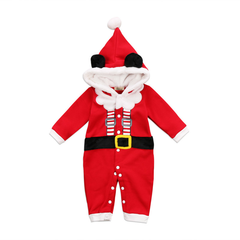 Christmas Newborn Infant Baby Boys Girls Santa Clause Customes Hoodies Velvet Warm Romper Hooded Jumpsuit Kids Xmas Clothing