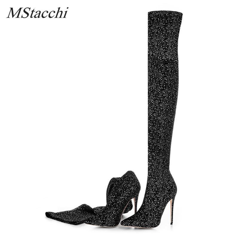 Mstacchi Women Luxury Stretch Fabric Boots Bling Bling Sequin Glitter High Heel Knit Elastic Sock Boots Pointed Toe Women Boots black stretch fabric suede over the knee open toe knit boots cut out heel thigh high boots in beige knit elastic sock long boots