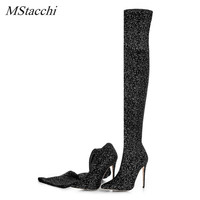 Mstacchi Women Luxury Stretch Fabric Boots Bling Bling Sequin Glitter High Heel Knit Elastic Sock Boots Pointed Toe Women Boots