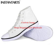 17ba392a1f90 INSTANTARTS Custom Men Canvas Shoes Comfort High Top Casual Shoes Man's Lace  Up Vulcanize Shoes Customize