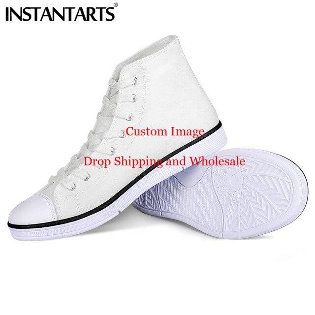 INSTANTARTS/Мужская парусиновая обувь на заказ; удобная повседневная обувь с высоким берцем; мужская обувь на шнуровке; Вулканизированная обувь; ...