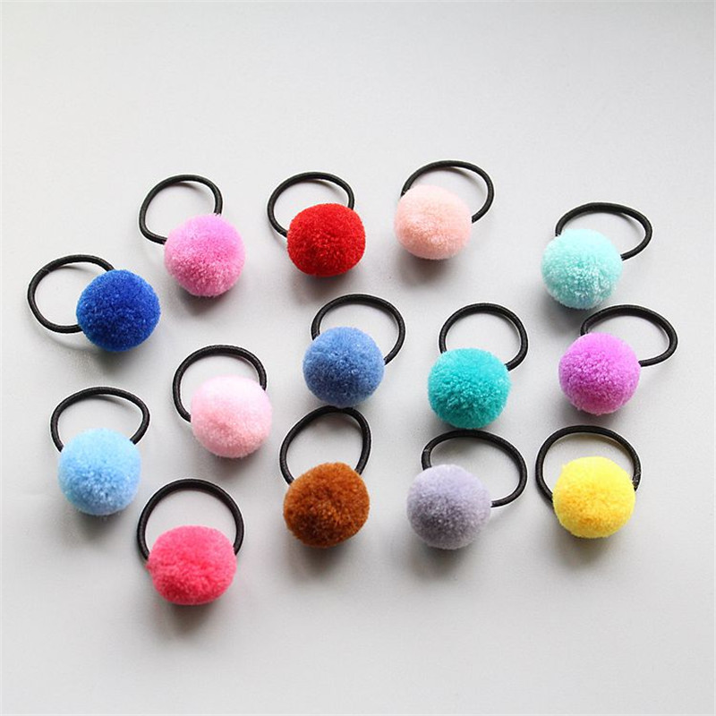 6Pcs/lot Kids Elastic Hair Band Cute Bobby Pins Candy Color Headband Small Chuzzle Ball Hair Accessories for Girl Rubber Tie Gum hot not elastic flowers bowknot headbands girl hair accessories girl headband cute hair band newborn floral headband wjul26