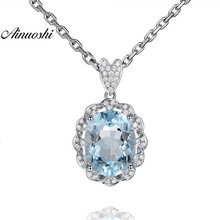 AINUOSHI Oval Cut 3 Carat Natural Topaz Pendant 925 Sterling Silver Genuine Light Blue Topaz Pendant Necklace Chain Jewelry Gift