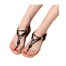New Female Life Shoes Fashion Flats Massage Metal Embellished Womens Flip-flops Casual Beach