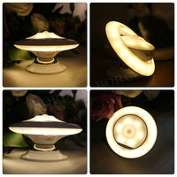 BORUiT UFO Rotation LED Night Light Motion Sensor Light Sensitive Desk Light Baby Bedroom Bedside Table