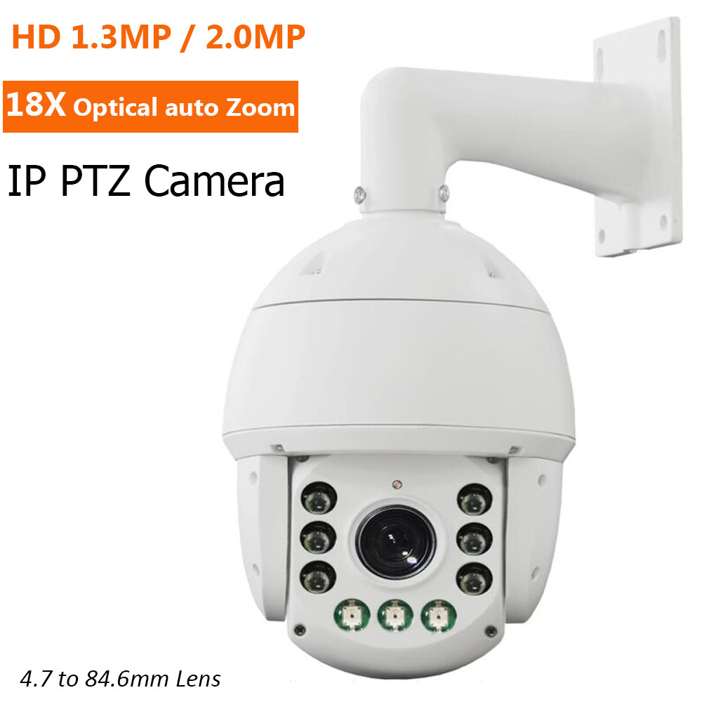 High Quality IP PTZ Camera HD 960P 1080P 18X optical Zoom 4.7-84.6mm Auto lens ONVIF Outdoor IR IP Speed Dome Camera 1.3MP 2MP