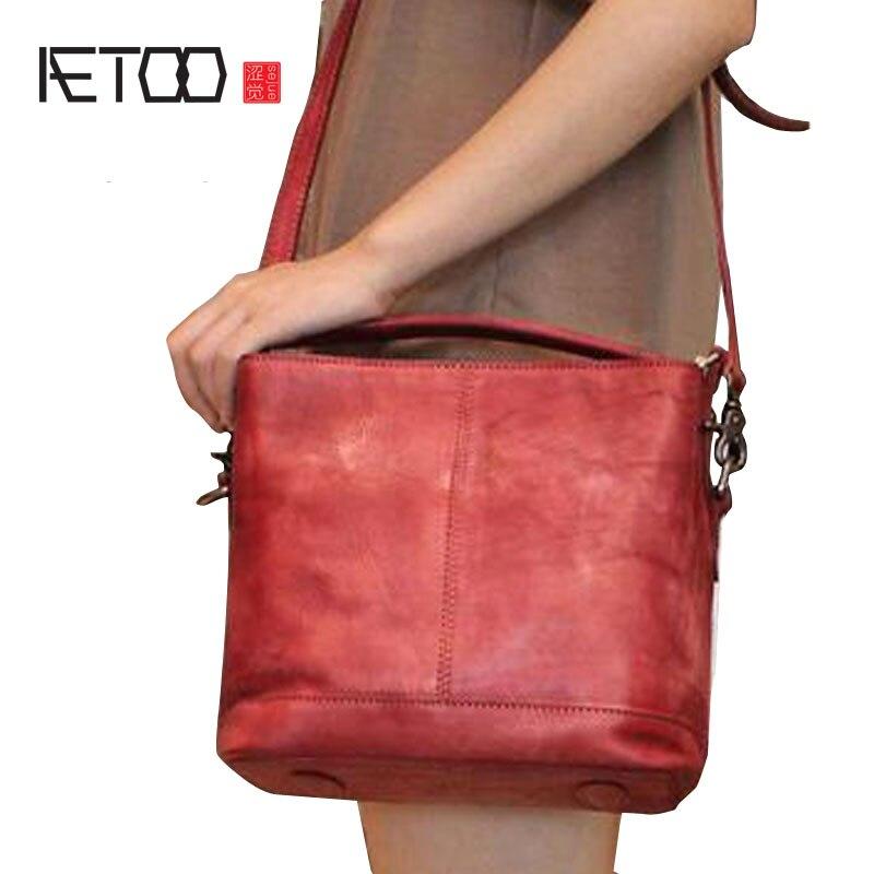 AETOO New diagonal shoulder bag original handmade ladies bucket bag retro handbags aetoo 2017 new 100