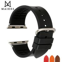 MAIKES Watch Accessories For Apple Watch band 44mm 40mm 42mm 38mm Series 4 3 2 1 Sport Fluoro Rubber iWatch Strap Watchband