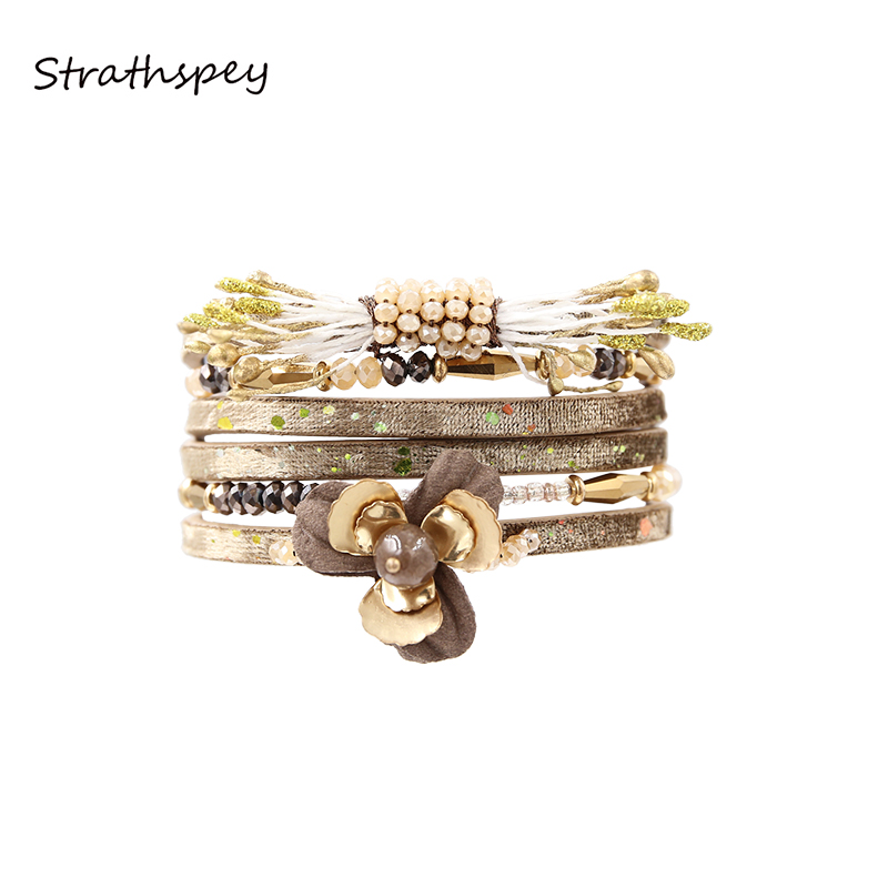 STRATHSPEY Leather Flower Beauty Bracelet Women Crystal Beads Pulseira Magnet Jewelry Charm Multilayer friend Gift Brown Color