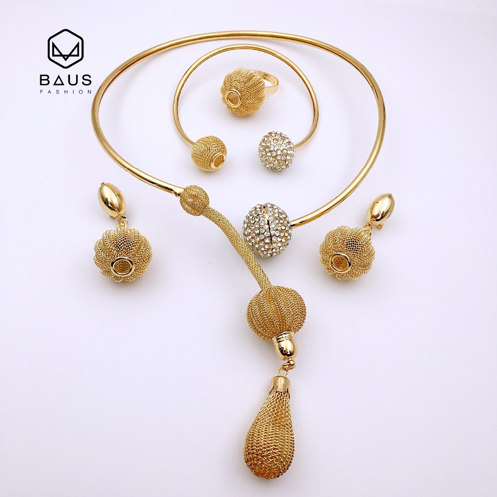 BAUS 2018 Top quality African bead jewelry set for women party accessories enorme moda vintage indiano Dubai Dubai conjunto de jóias Presente