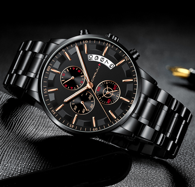 Luxury Casual Stainless Steel Chronograph Quartz Wristwatch
