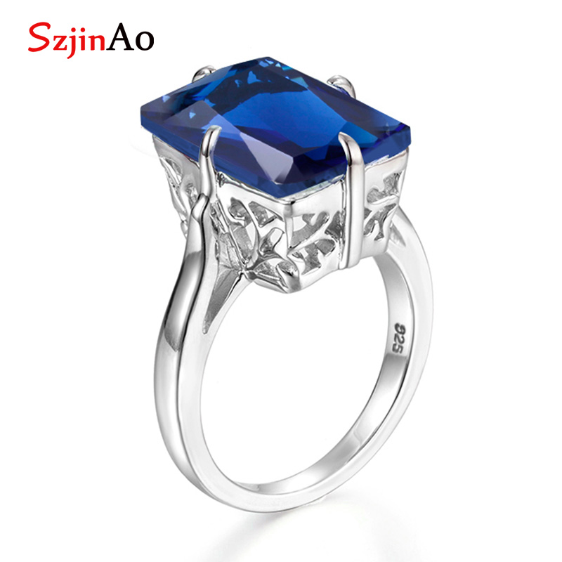 06373bca24886 Szjinao Big square sapphire ring vintage hollow design september birthstone  silver 925 jewelry for women promise rings wholesale