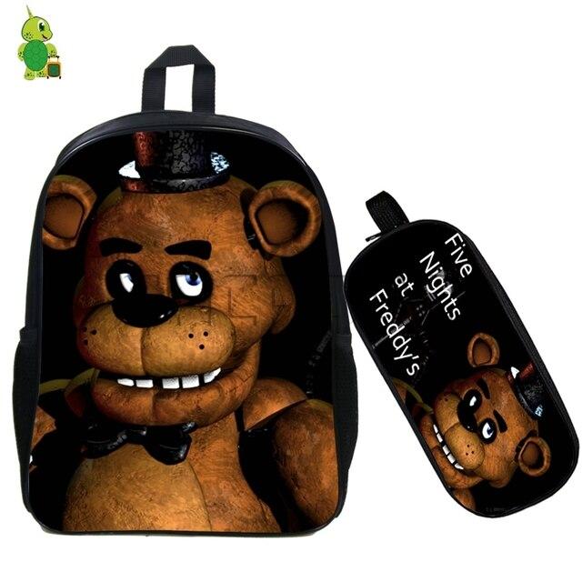 d25e8c1ccc Five Nights At Freddy s Backpack 2 Pcs set Children School Bags Fazbear  Freddy Bonnie Backpack Students Book Bags Kids Gift