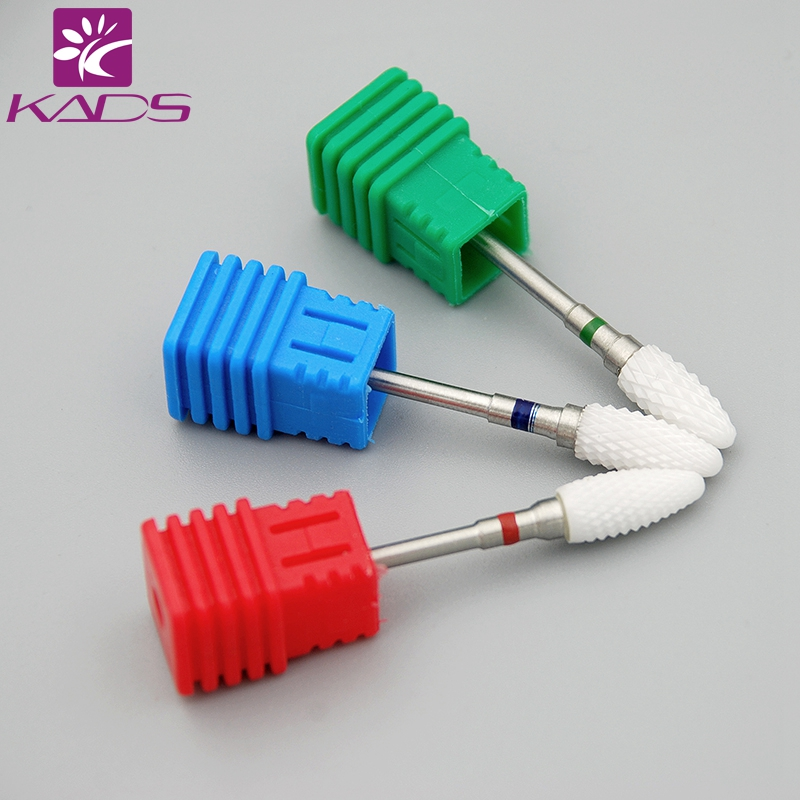 KADS 3/32 Medium Flame Cuspidal Nail Art Drill Bit Polish Tool Ceramic Mounted Grinding Stone Head Electric Manicure Cutter art ceramic