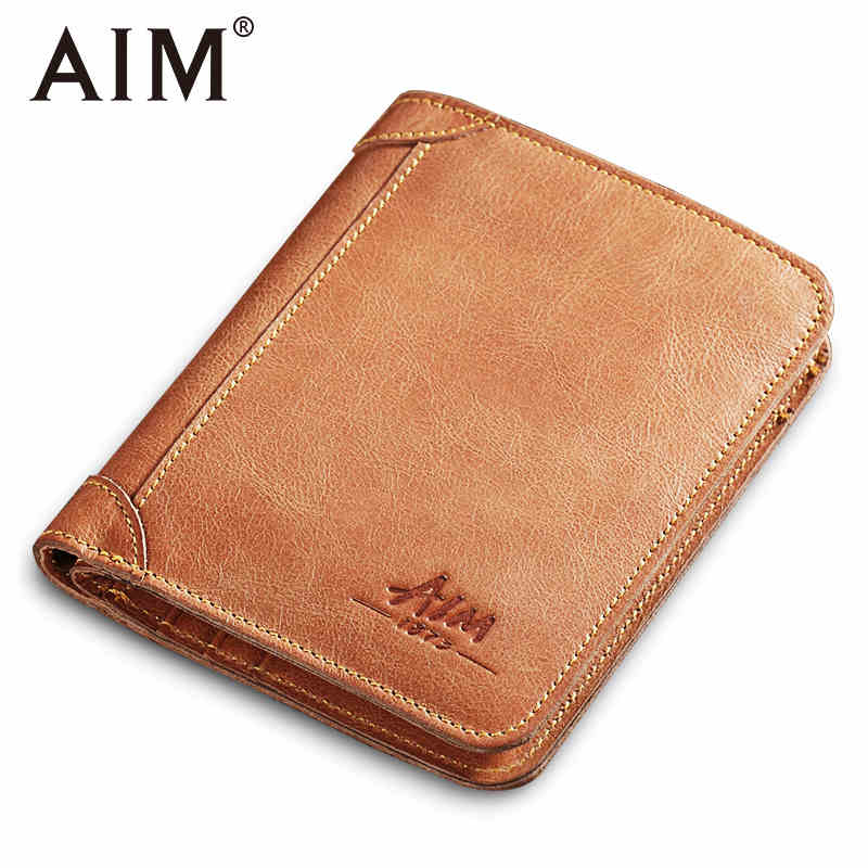 AIM 100% Genuine Leather Men Wallets Small Coin Purse Vintage Wallet Cowhide Leather Card Holder Pocket Purse Men's Wallets A242 falan mule genuine leather men wallets short coin purse small vintage men s wallet cowhide leather card holder pocket purse