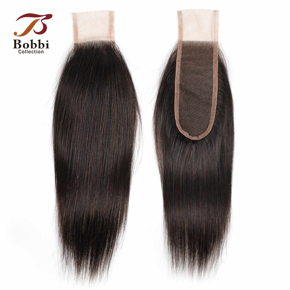 Bobbi Collection Straight 2*6 Lace Closure Natural Color Dark Brown Indian Remy Human Hair Closure Free Part Middle Part