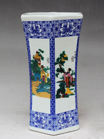 Exquisite Chinese Antique Imitation Ceramic Pen Holder , Painted with the Dream of Red Mansions Belles