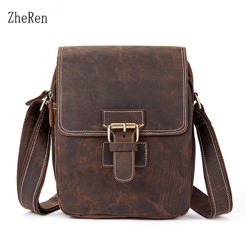 2018 vintage real leather mens bag with one-shoulder bag, a mans purse luggage tag