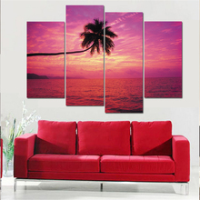 Sunset Landscape Painiting Modular Pictures Sea Canvas Painting Scenery Wall Picturess for Living Room Unframed