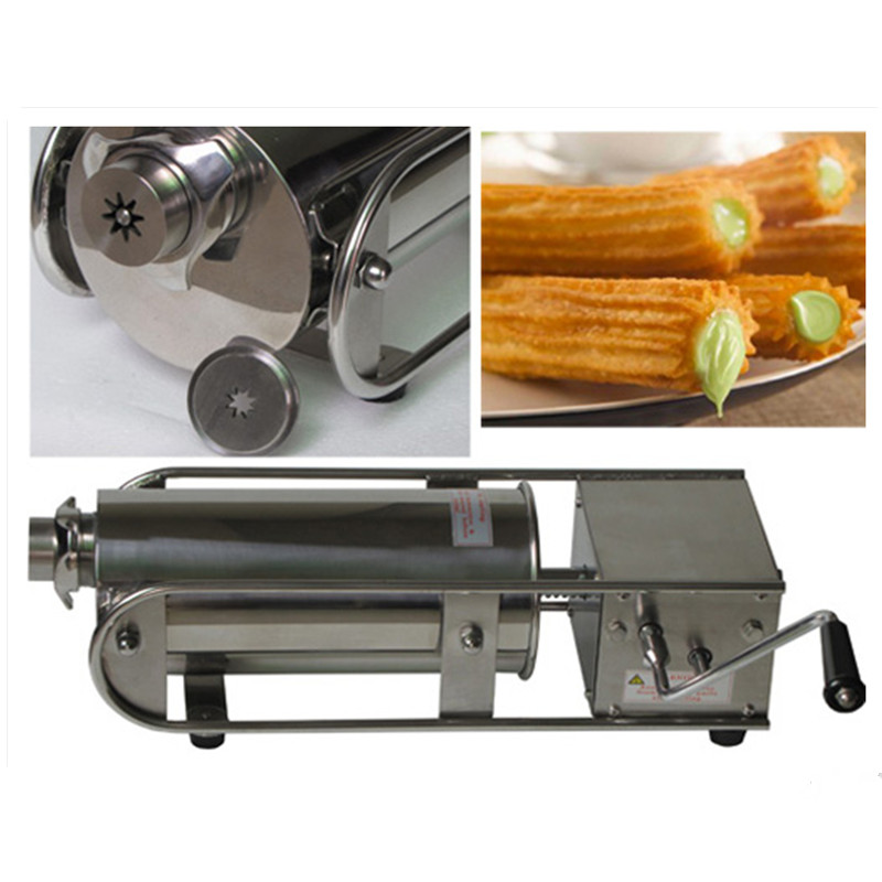 5L Commercial Spanish Churro Making Machine Including 3 Churro Outlet Mold Nozzle Stainless Steel Churro Maker commercial 5l churro maker machine including 6l fryer