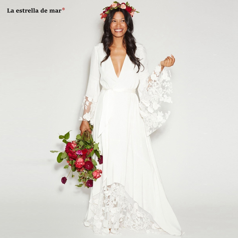 New Fall Winter Beach BOHO Wedding Dresses Bohemian Beach Hippie Style Bridal Gowns with Long Sleeves Lace Flower Custom robe de