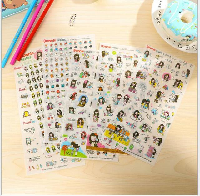 decorative office supplies acrylic gold 6sheetspack korea naughty cute girl stickersscrapbook diary deco stickers decorative items