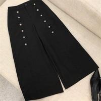 Модные штаны для женщин высокое качество элегантный черный OL стиль брюки для девочек Новинка 2018 года прямые СР